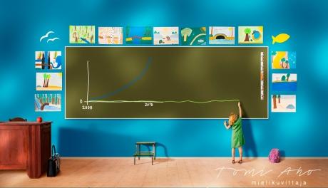 pieni tyttö kurottaa ja piirtää isolle liitutaululle vihreällä liidulla. liitutaulua ympäröi lasten piirustukset, tytön piirtämä käyrä kuvaa pellettiin liittyvää tietoa.