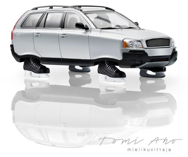 auto, jossa on luistimet renkaiden tilalla. Liikenneturvalle luotu kuva liukkaan kelin kampanjaa varten © Studio Tomi Aho mielikuvittaja